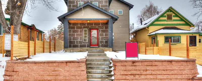 snowy exterior of remodeled home