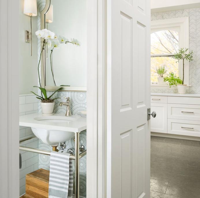 white powder room sink