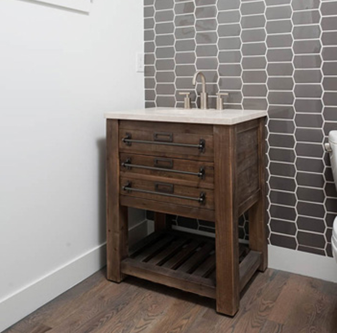 wooden sink in bathroom