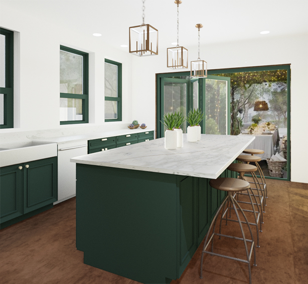 green kitchen mockup
