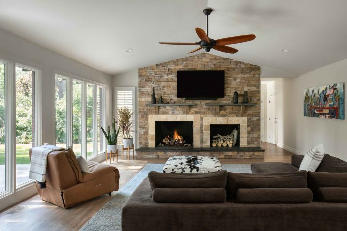 remodeled living room with custom fireplace