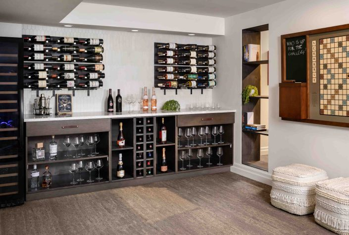 renovated wine and game room