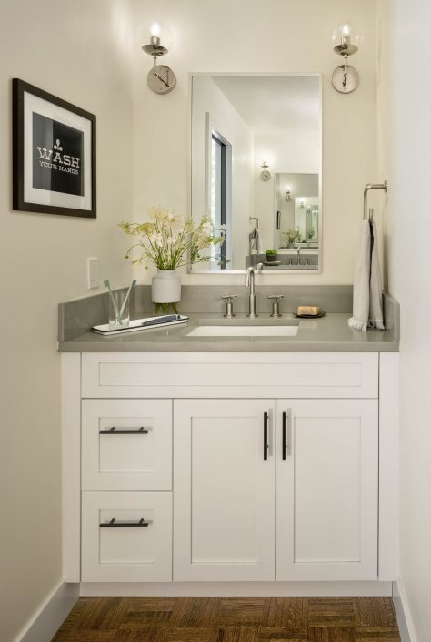 Single sink in a remodeled bathroom
