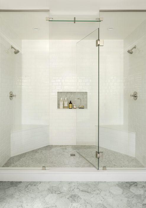 white tile glass shower