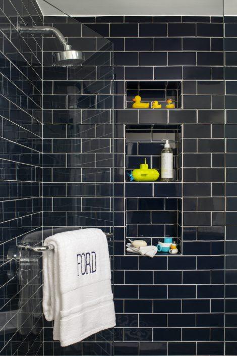 Black tile shower