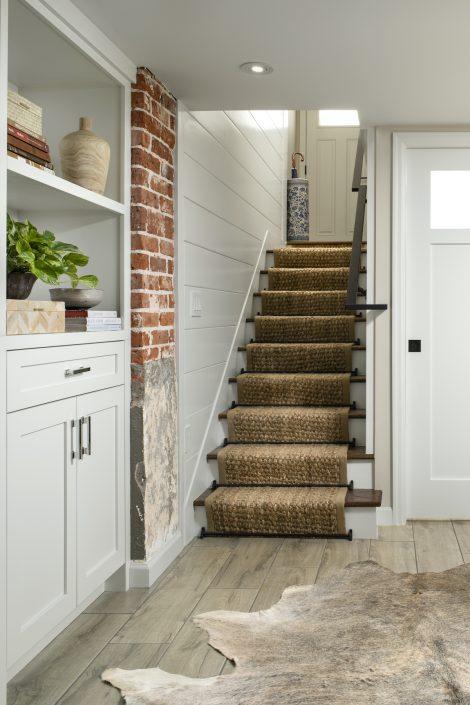 Stairway and custom fur rug