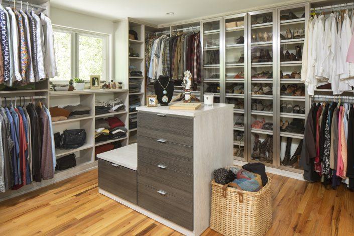 custom walk in closet with built-in storage