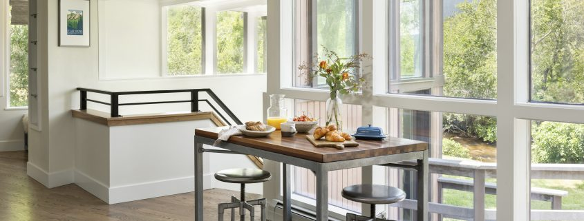 breakfast nook with beautiful view of backyard