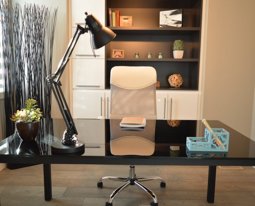 Home office with black desk